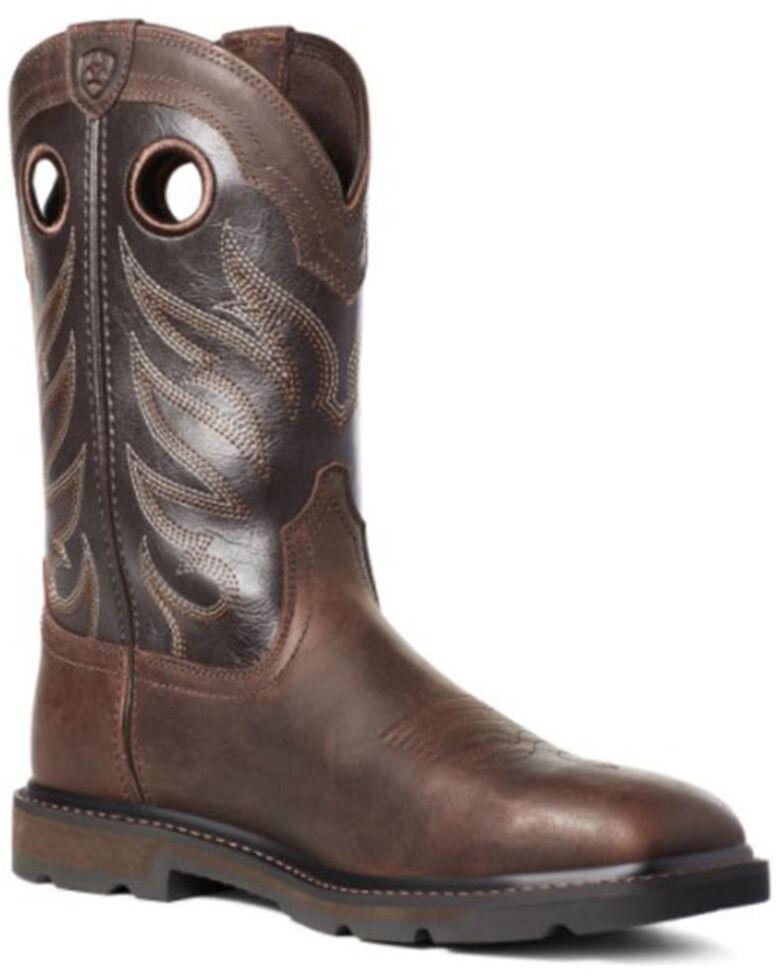 Ariat Men's Brown Groundwork Western Work Boots - Steel Toe, Brown, hi-res