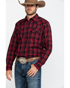 Gibson Men's Redlands Med Plaid Long Sleeve Western Shirt , Black, hi-res