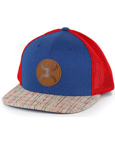 HOOey Men's Tweed Hybrid Bill Ball Cap, Blue/red, hi-res