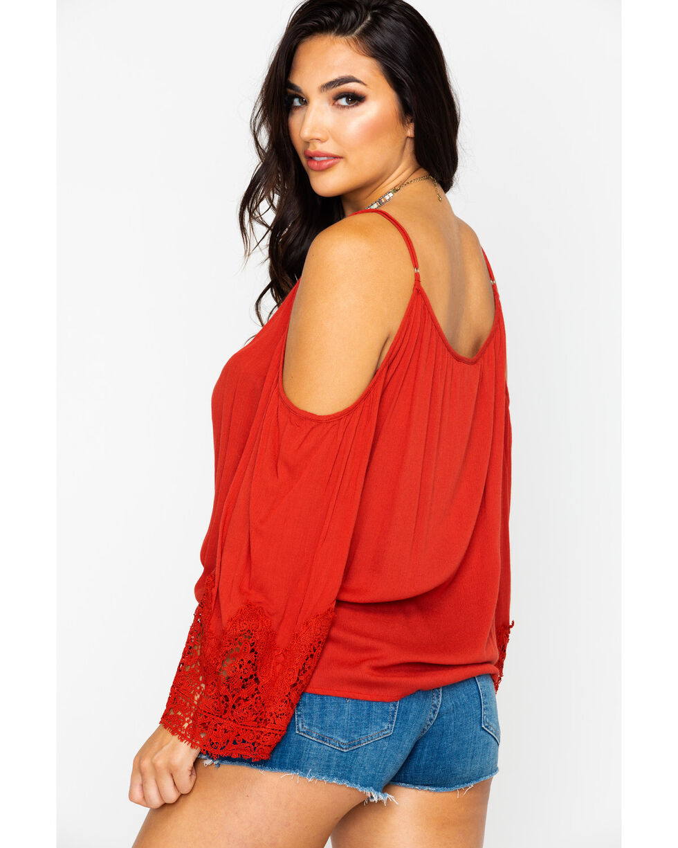 Nostalgia Women's Crepe Cold Shoulder Crochet Sleeve Top , Rust Copper, hi-res