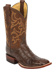 Justin Men's Full Quill Ostrich Western Boots, Tobacco, hi-res
