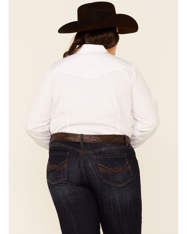 Roper Women's White Tone-On-Tone Solid Long Sleeve Snap Western Shirt - Plus, White, hi-res