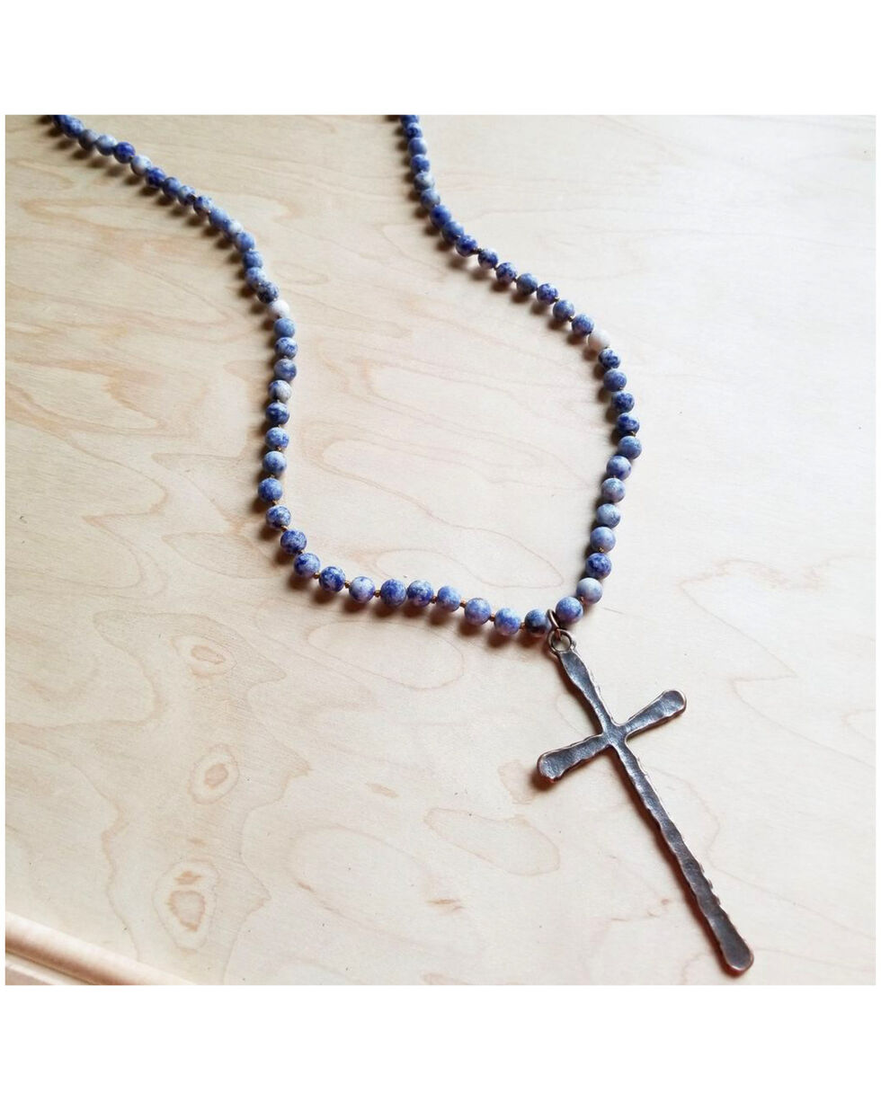 Jewelry Junkie Women's Copper Cross Frosted Blue Sodalite Long Beaded Necklace, Blue, hi-res