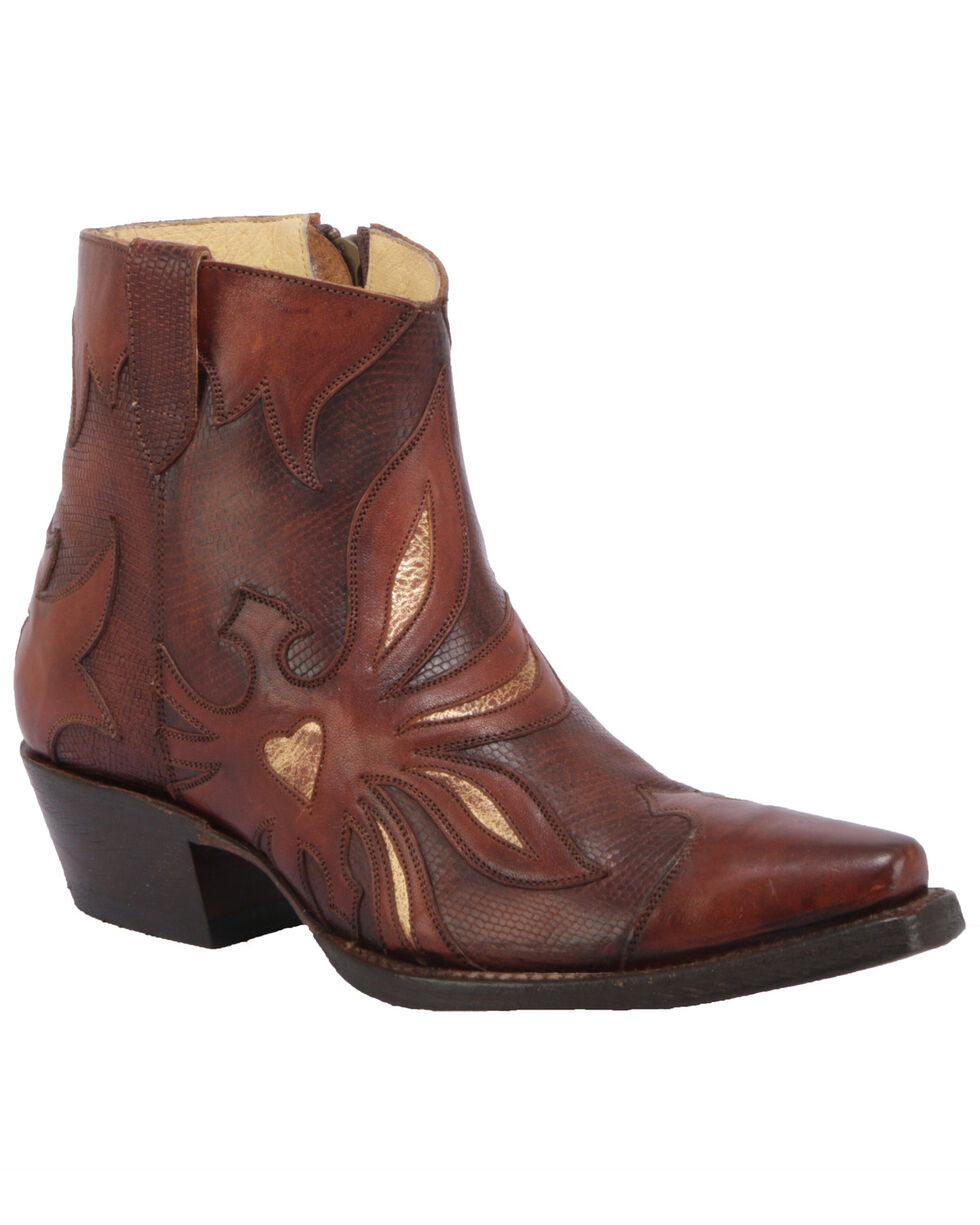 Liberty Black Women's Columbus Miel Western Booties - Round Toe, Cognac, hi-res