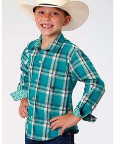 Roper Boys' Amarillo Multi Plaid Long Sleeve Western Shirt , Green, hi-res
