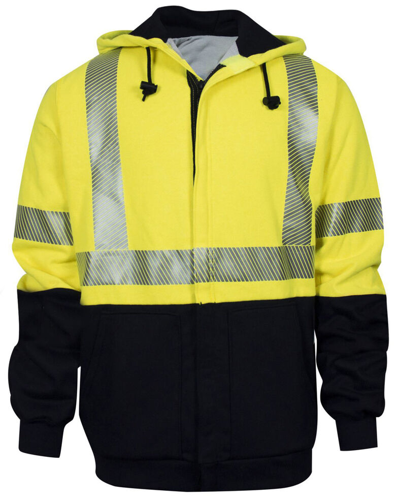 National Safety Apparel Men's 2X FR Hi-Vis Hybrid Zip Front Hooded Work Jacket - Big , Bright Yellow, hi-res