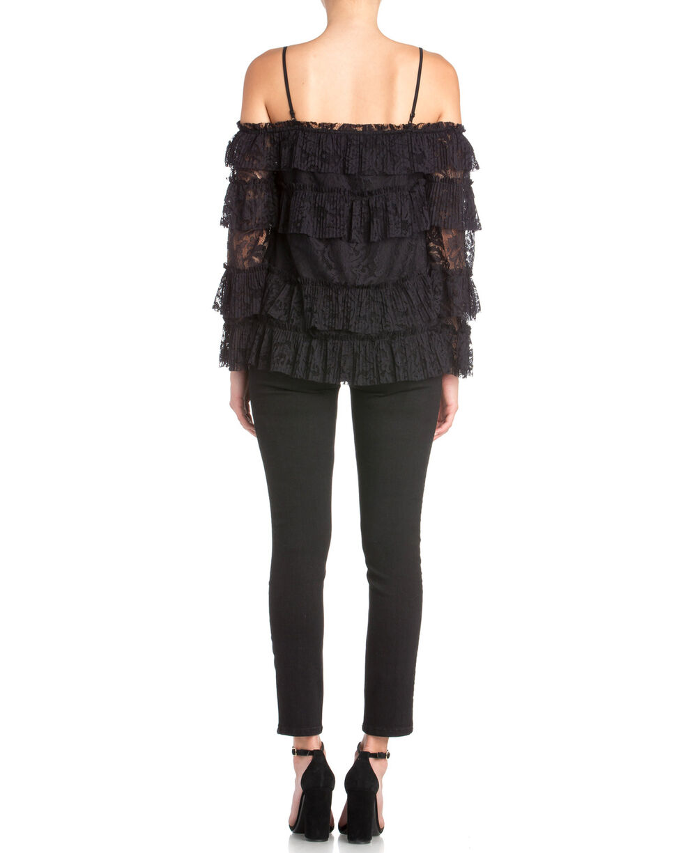 Miss Me Women's Ruffle Tiered Off Shoulder Lace Top , Black, hi-res