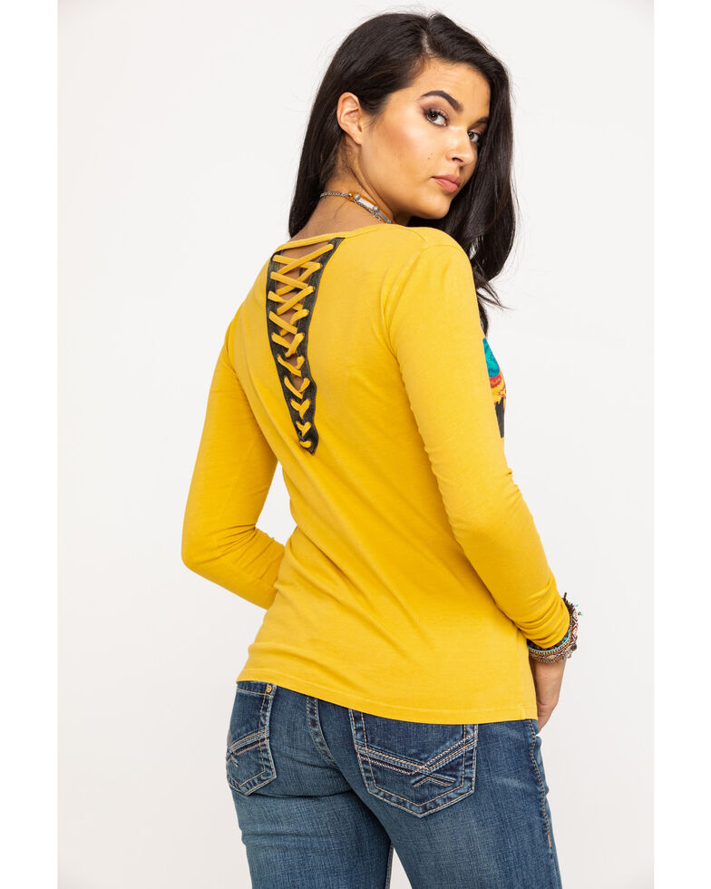 Rock & Roll Cowgirl Women's Aztec Desert Graphic Lace Up Back Top, Dark Yellow, hi-res