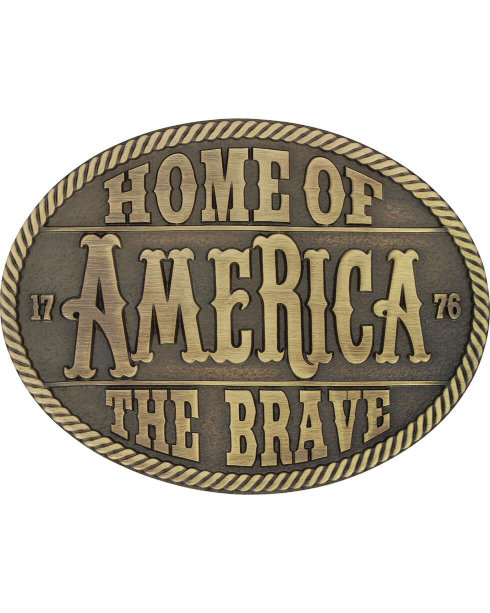 Montana Silversmiths Men's Brass Home Of The Brave Belt Buckle , Silver, hi-res