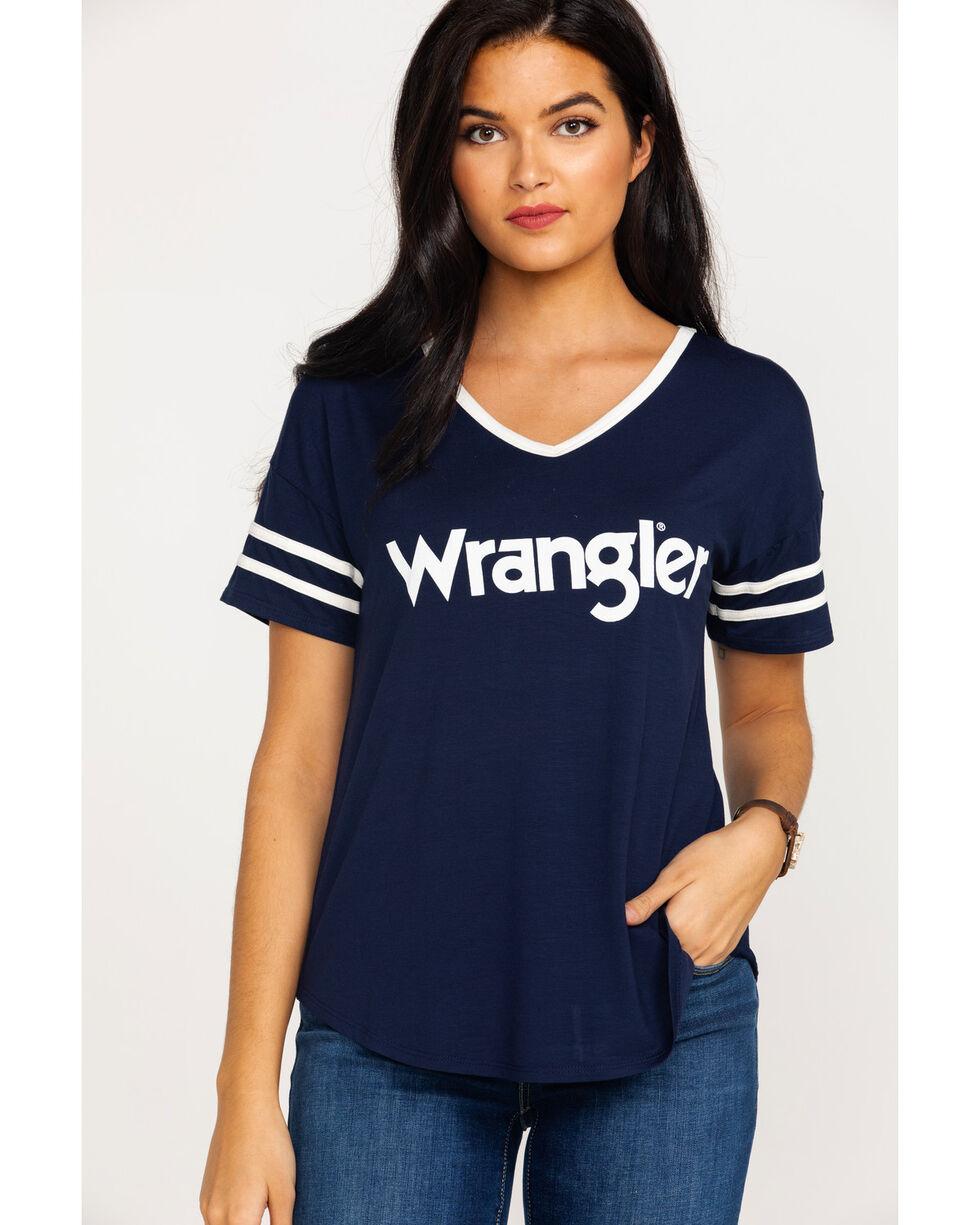 Wrangler Women's Striped Sleeve Logo T-Shirt , Navy, hi-res
