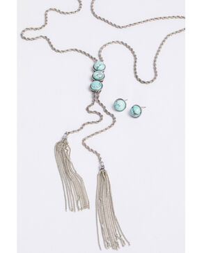 Shyanne Women's Bella 3 Row Turquoise Stone Fringe Necklace Set, Silver, hi-res