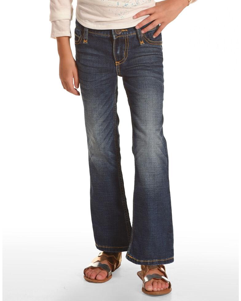 Wrangler Girls' Multi Stitch Bootcut Slim Fit Jeans, Blue, hi-res