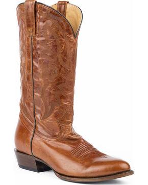 Roper Men's Cassidy Marble Cognac Cowboy Boots - Round Toe, Tan, hi-res