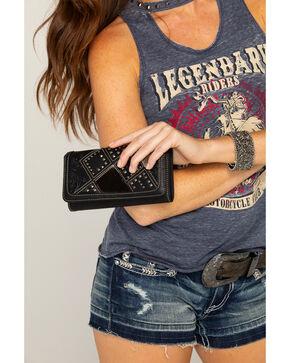 Shyanne Women's Calf Hair Patchwork Wallet Wristlet, Black, hi-res