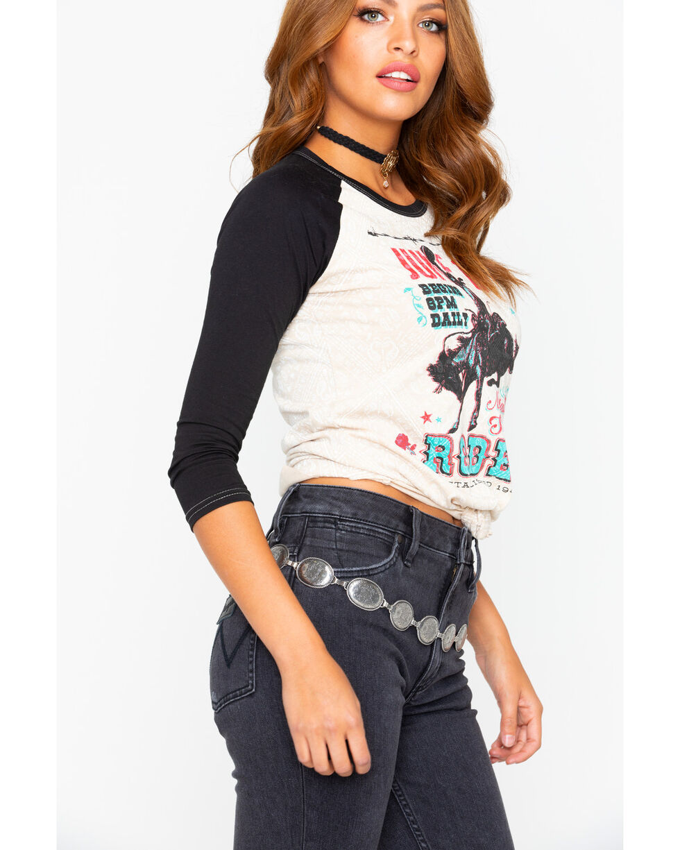 Rock and Roll Cowgirl Women's Rodeo Graphic Baseball Shirt, Black/white, hi-res