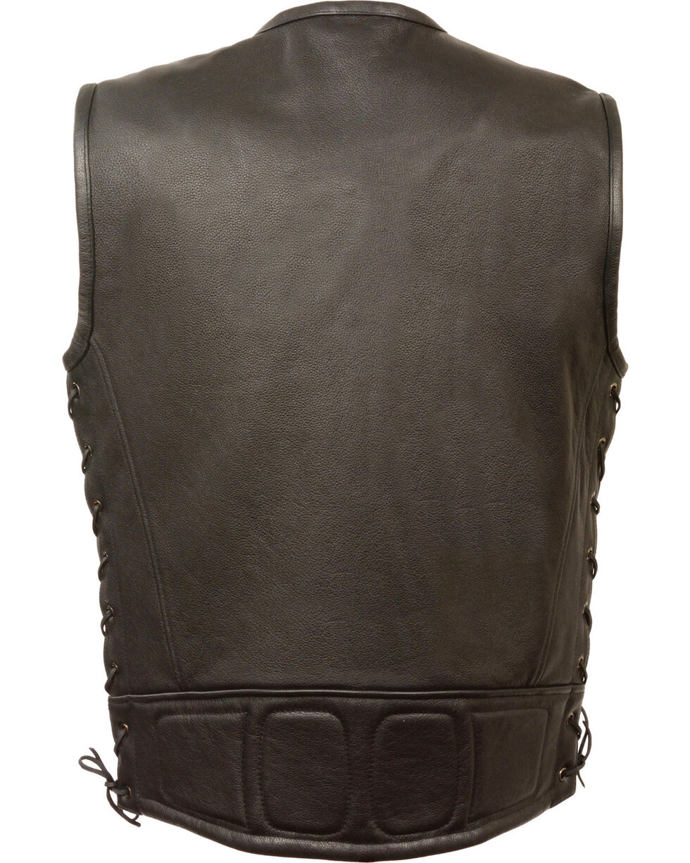 Milwaukee Leather Men's Zipper Front Full Side Lace Leather Vest - 4X, Black, hi-res