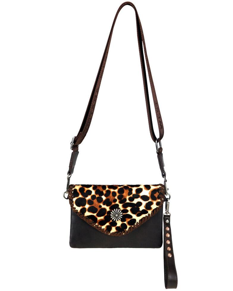 Montana West Women's Leopard Hair-On Crossbody Bag, Coffee, hi-res