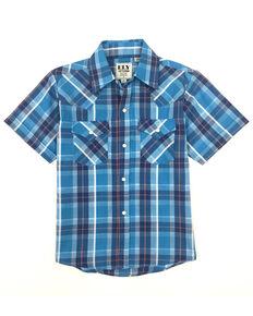 Ely Cattleman Boys' Assorted Aqua Plaid Short Sleeve Western Shirt , Aqua, hi-res