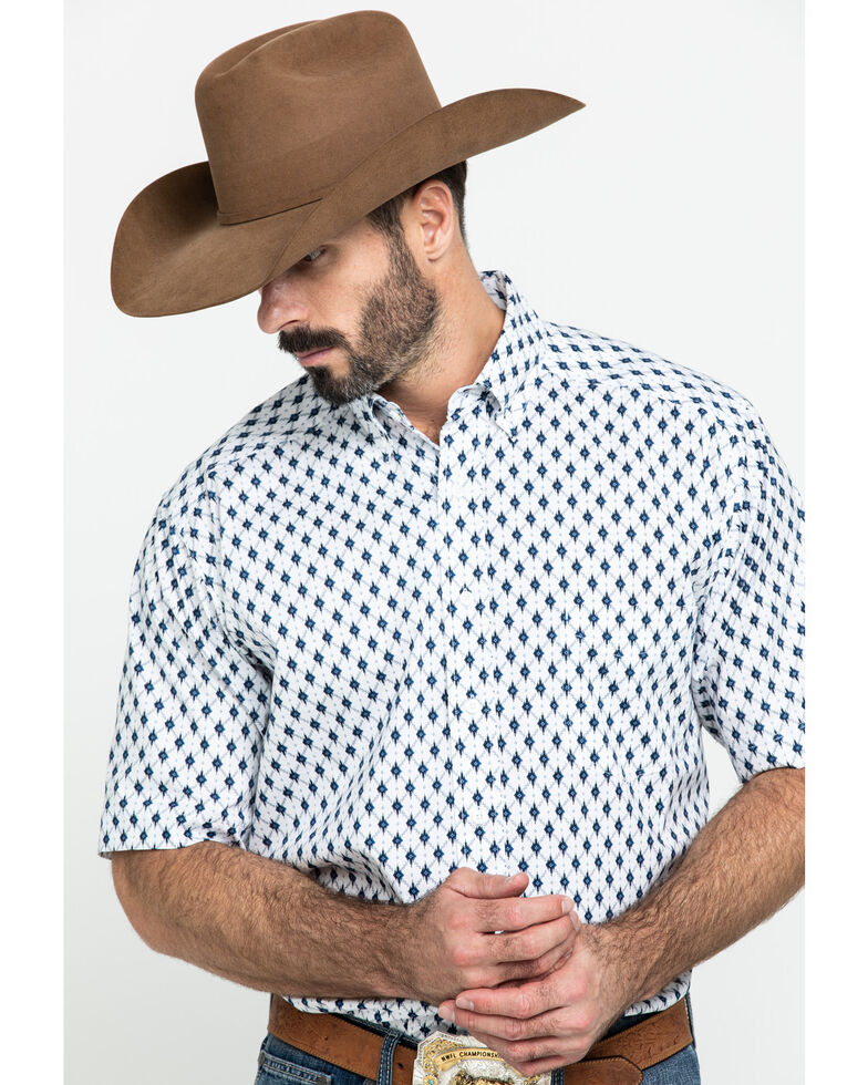 Tuf Cooper Men's White Stretch Poplin Print Short Sleeve Western Shirt , White, hi-res