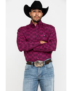 Wrangler Men's Tough Enough To Wear Pink Arrow Geo Print Long Sleeve Western Shirt , Pink, hi-res