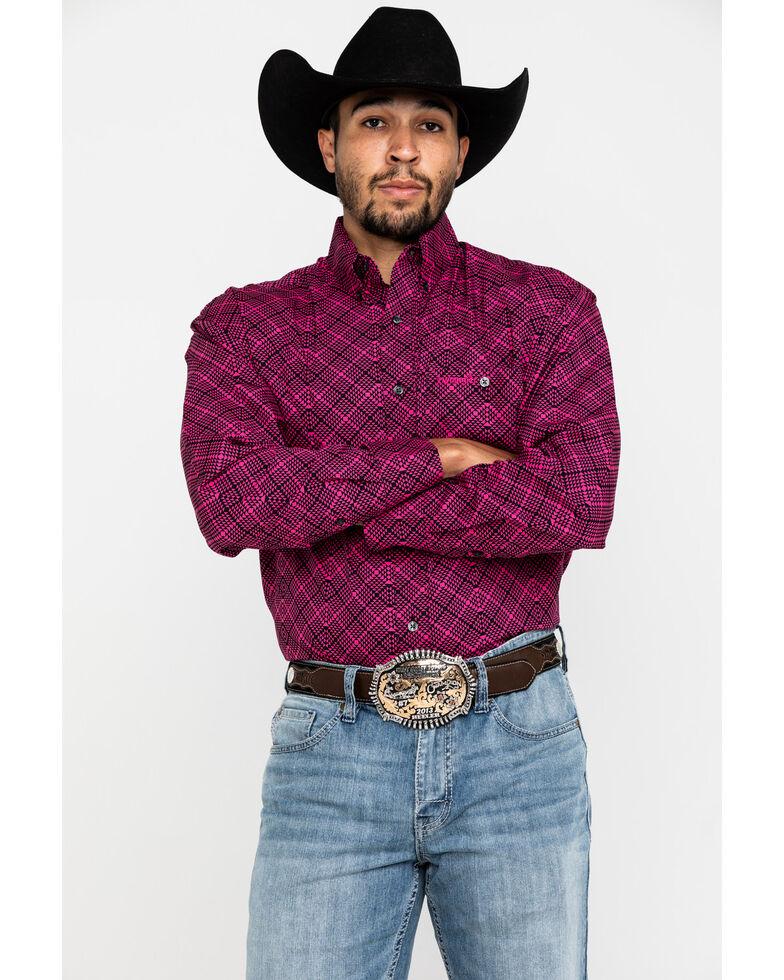 Wrangler Men's Tough Enough To Wear Pink Arrow Geo Print Long Sleeve Western Shirt , Pink, hi-res