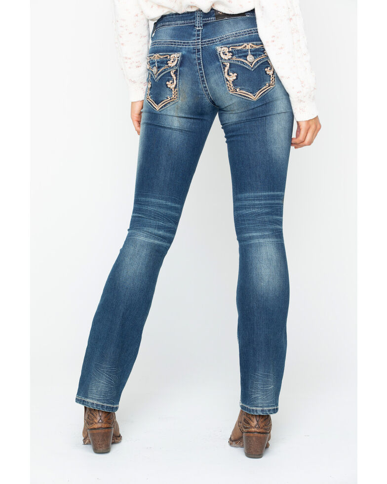 Shyanne Women's Gold Scroll Embroidered Bootcut Jeans, Blue, hi-res