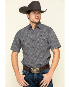 Ely Cattleman Men's Multi Geo Print Short Sleeve Western Shirt , Black, hi-res