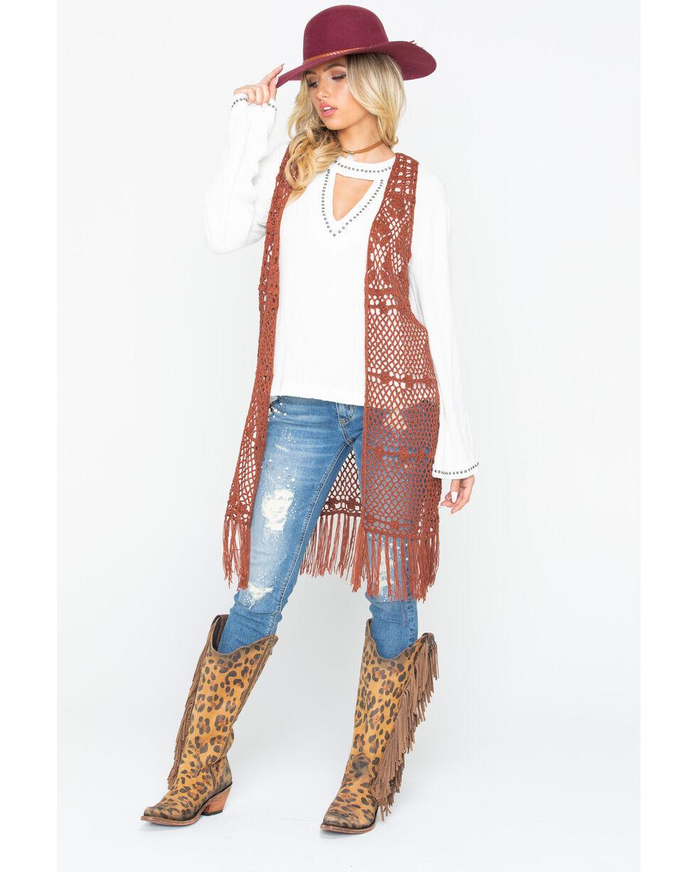 Wrangler Women's Rust Crochet Fringe Vest , Rust Copper, hi-res