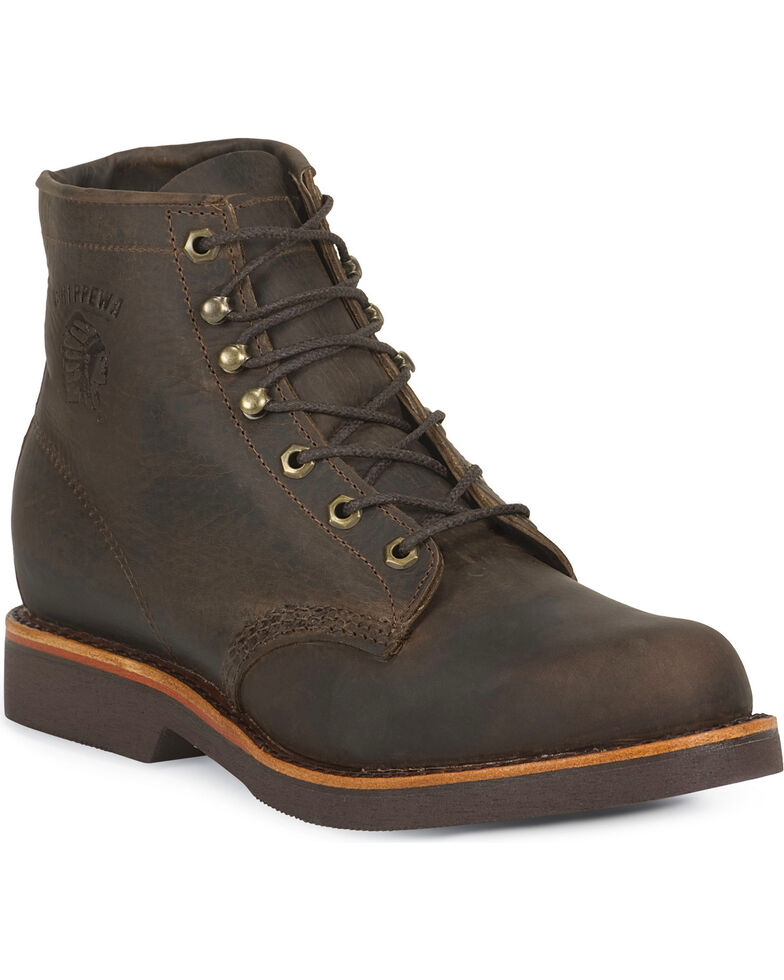 """Chippewa 6"""" Lace-Up Work Boots - Round Toe, Chocolate, hi-res"""