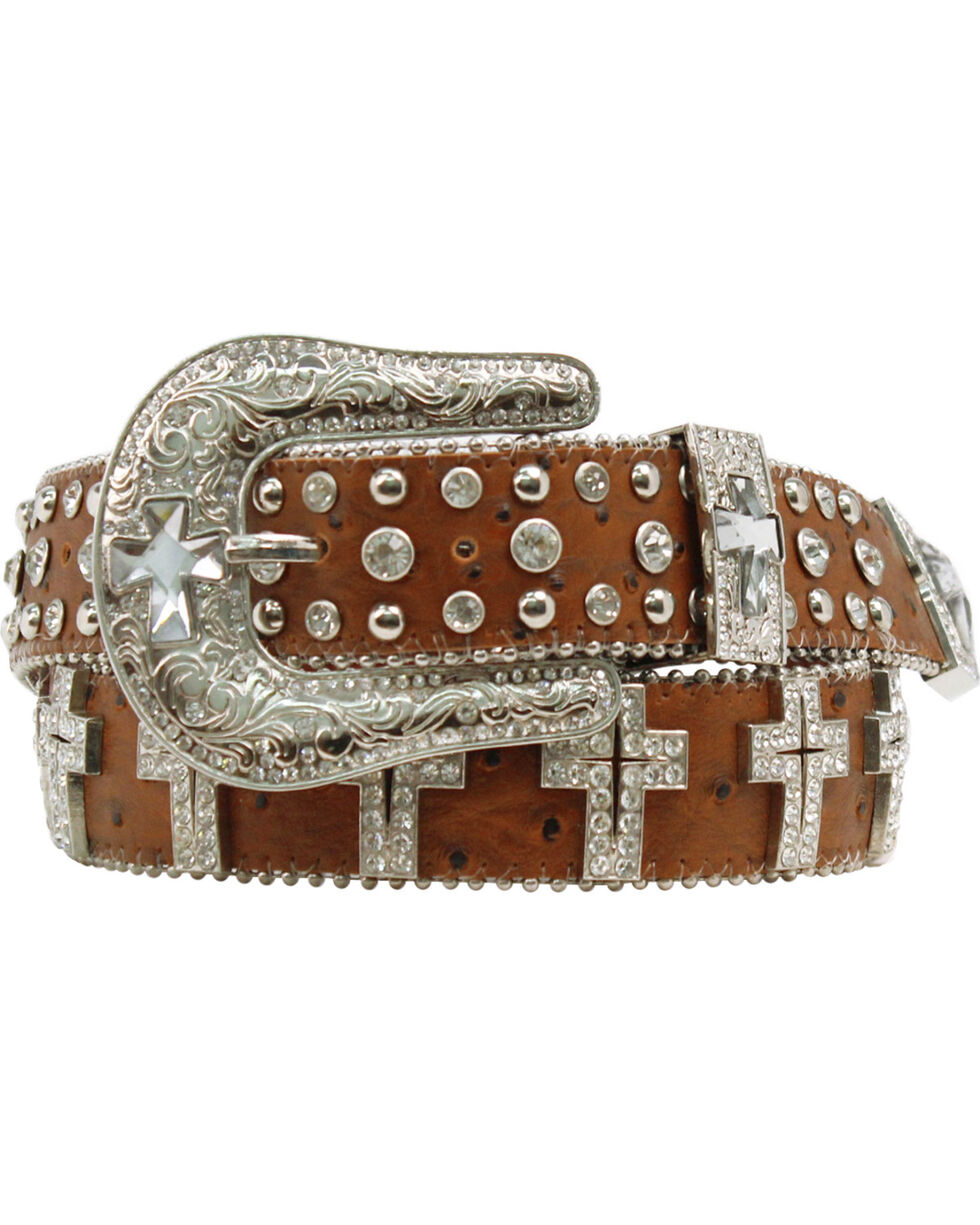 Blazin' Roxx Women's Rhinestone Cross Concho Belt, Brown, hi-res