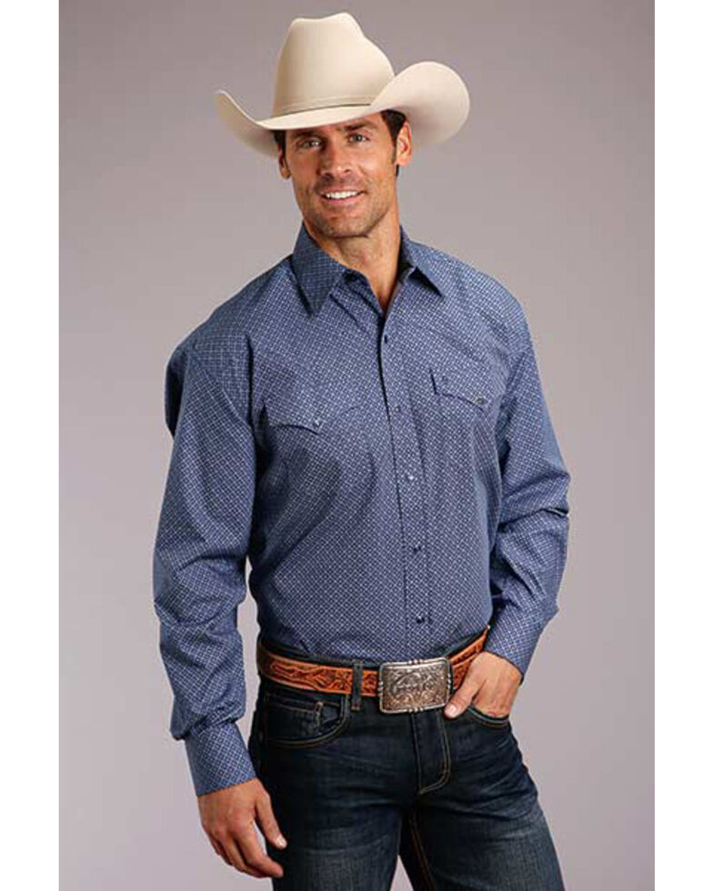 Stetson Men's Navy Neat Geo Print Long Sleeve Western Shirt, Blue, hi-res