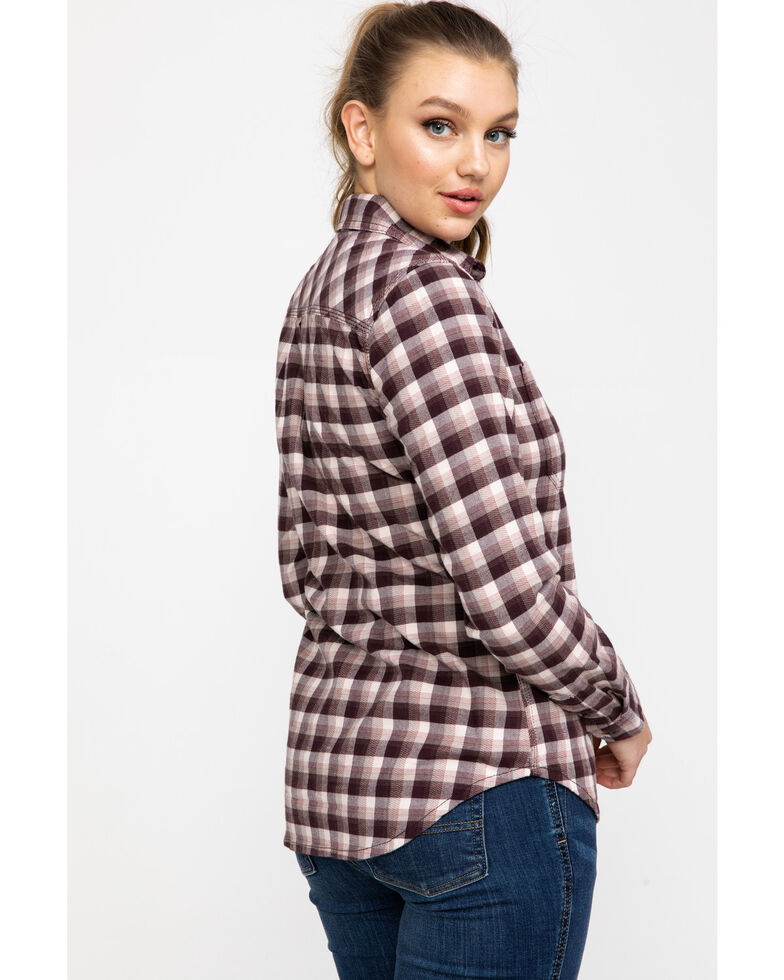 Carhartt Women's Rugged Flex Hamilton Flannel Work Shirt , Medium Pink, hi-res