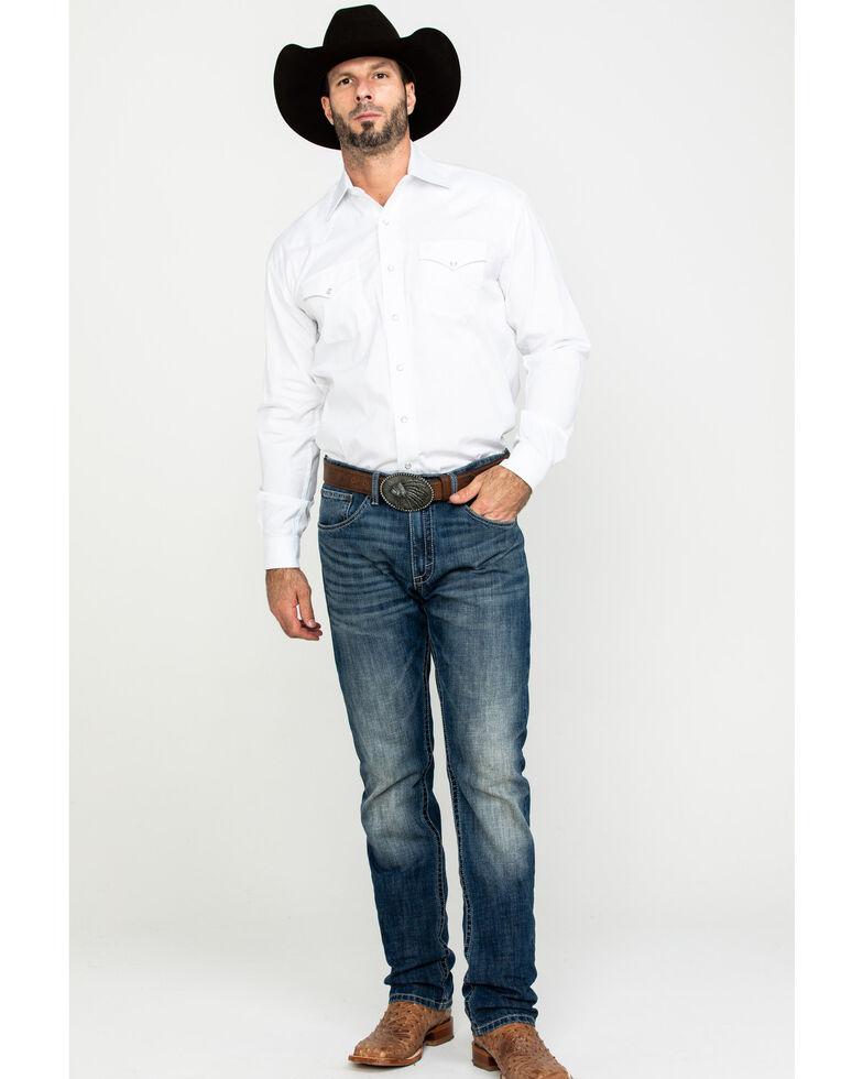 Stetson Men's White Solid Logo Long Sleeve Western Shirt , White, hi-res