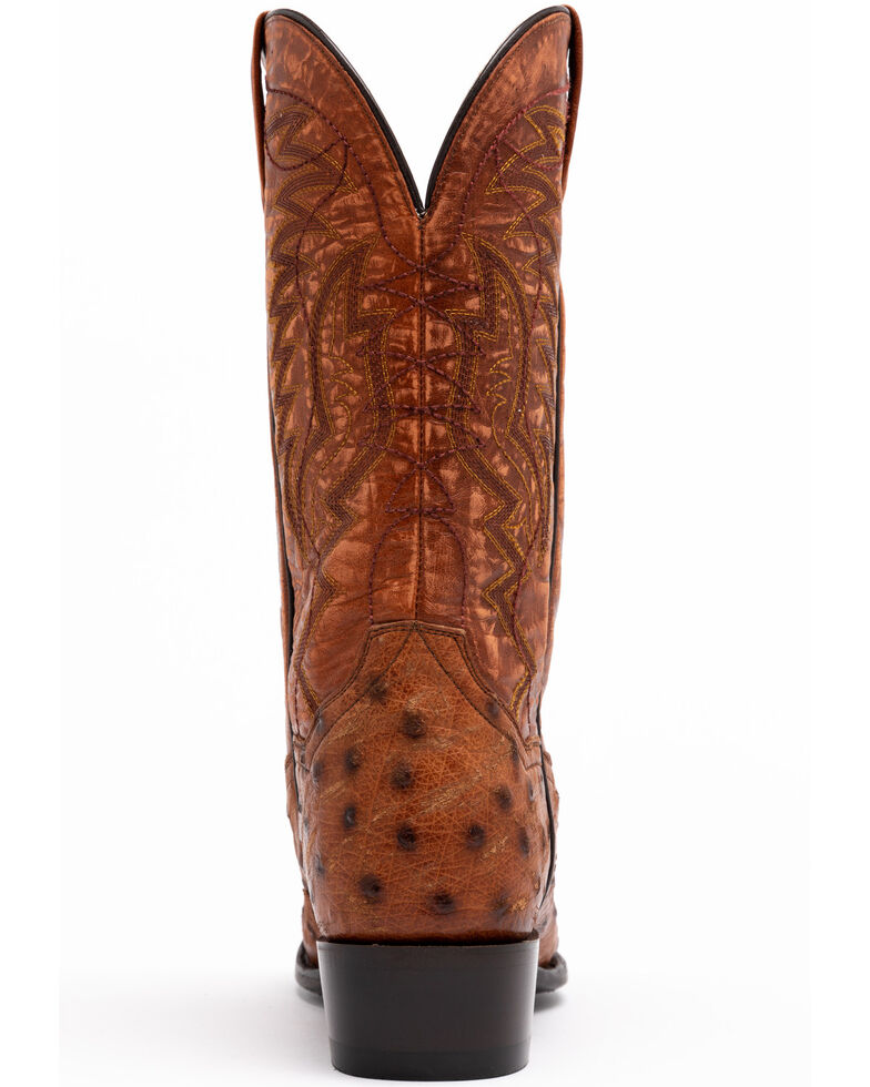 Dan Post Men's Cognac Ostrich Western Boots - Round Toe, Brown, hi-res