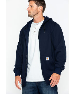Carhartt Men's Zip-Front Heavyweight Solid Work Sweatshirt- Big & Tall , Navy, hi-res