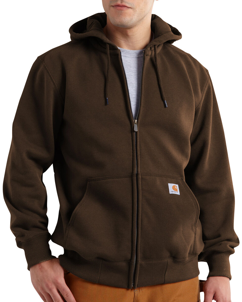Carhartt Rain Defender Paxton Zip Front Hoodie - Big & Tall, Dark Brown, hi-res