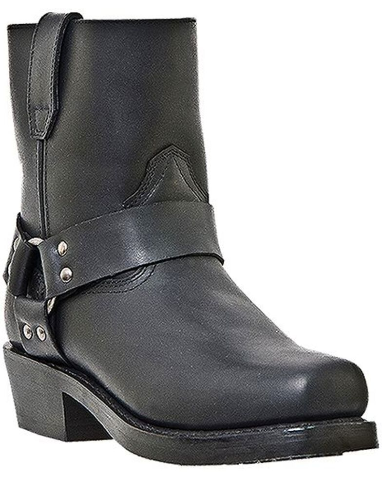 Dingo Rev Up Zipper Motorcycle Boots - Square Toe, Black, hi-res