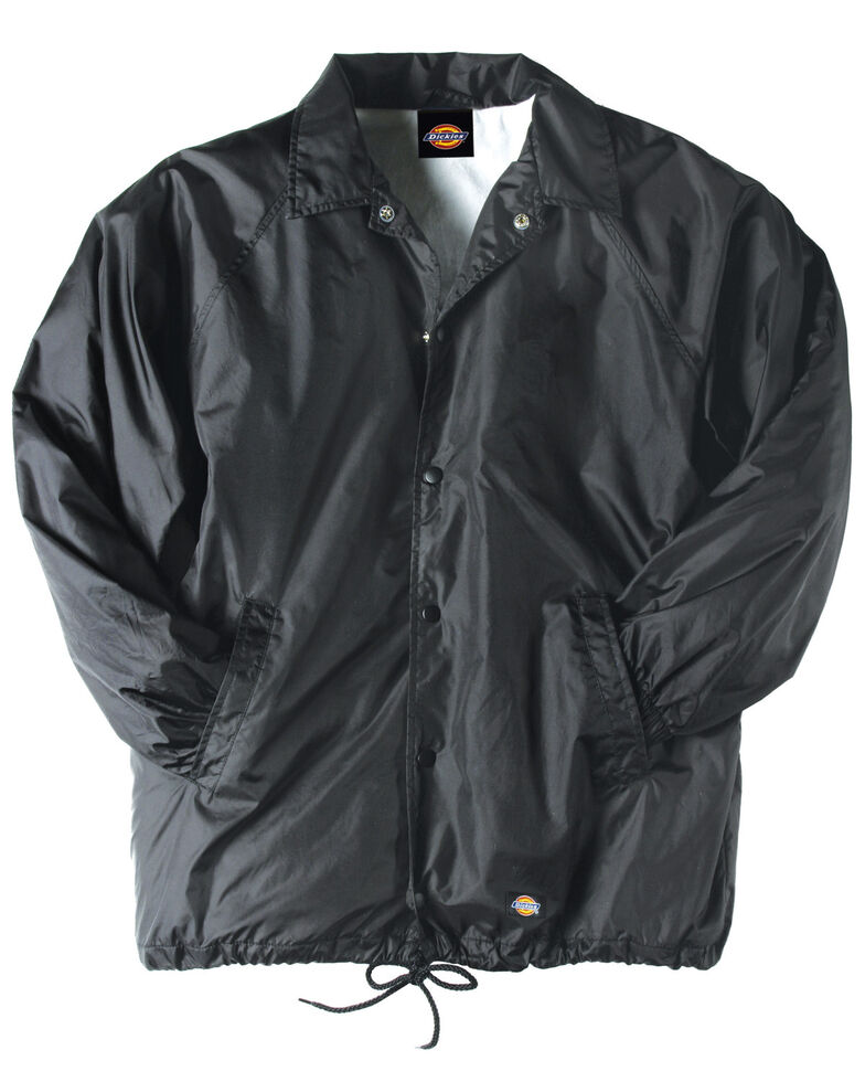 Dickies Men's Snap Front Nylon Work Jacket, Black, hi-res
