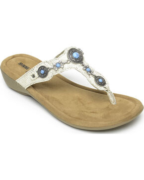 Minnetonka Women's Gold Python Print Boca Thong lll Sandals , Gold, hi-res