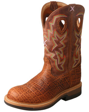 Twisted X Men's Lite Cowboy Elephant Print Western Work Boots - Composite Toe, Tan, hi-res