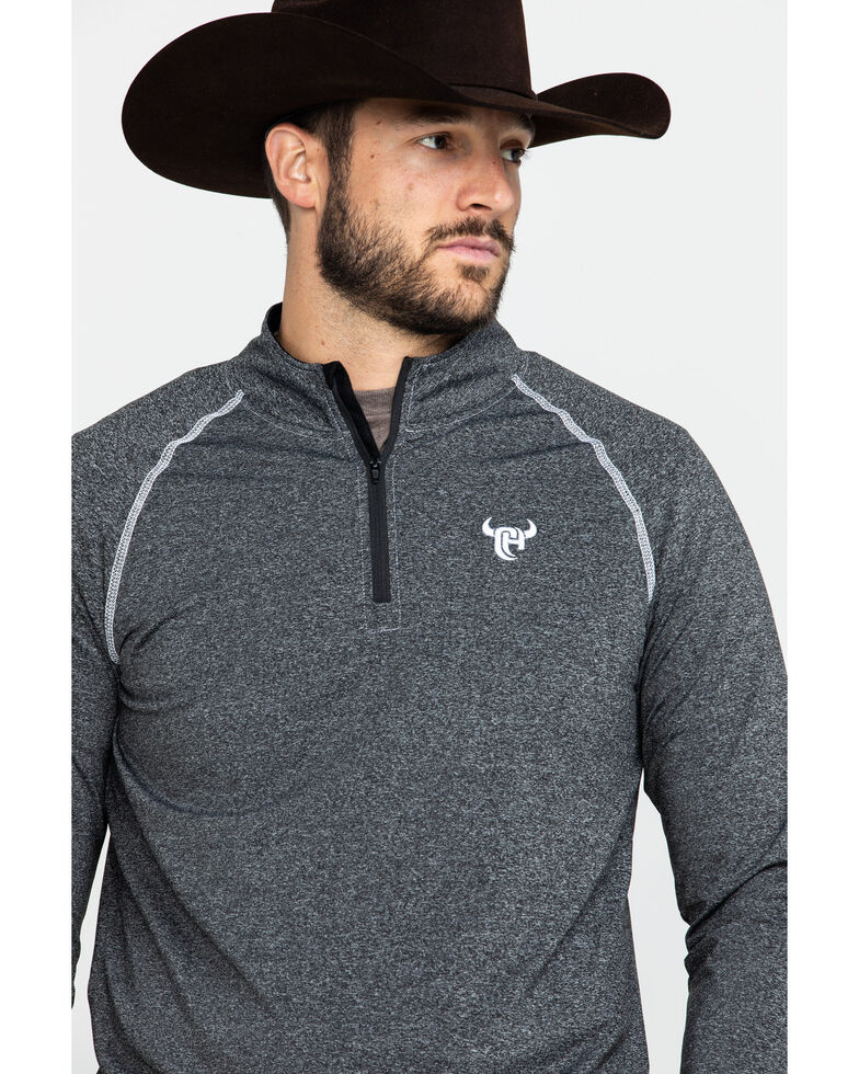 Cowboy Hardware Men's 1/4 Zip Sports Knit Heather Pullover , Black, hi-res