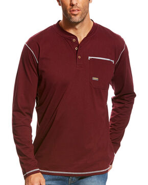 Ariat Men's Malbec Rebar Long Sleeve Pocket Henley, Burgundy, hi-res