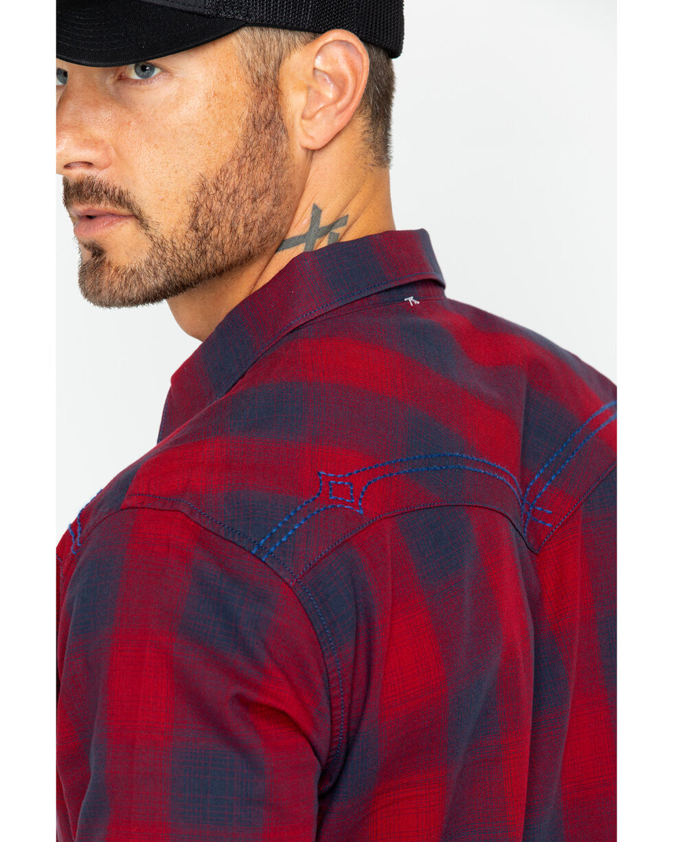 Rock 47 by Wrangler Men's Plaid Long Sleeve Western Shirt , Red, hi-res