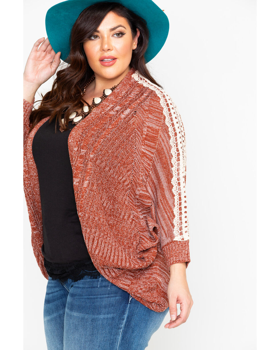 Flying Tomato Women's Cable Knit Lace Trim Cardigan - Plus , Rust Copper, hi-res