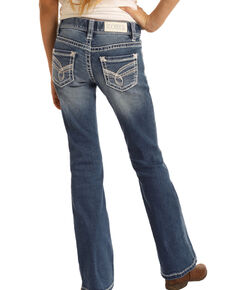 Rock & Roll Cowgirl Girls' Medium Vintage Scroll Bootcut Jeans , Blue, hi-res