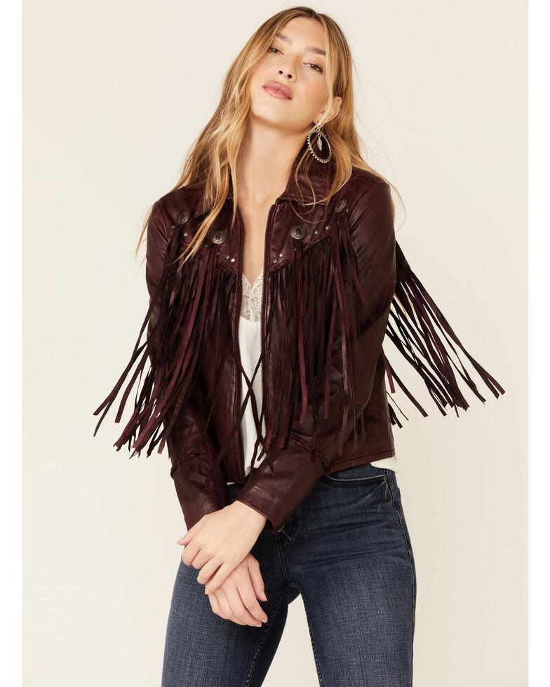 Idyllwind Women's Burgundy Headline Concho Leather Jacket , Burgundy, hi-res