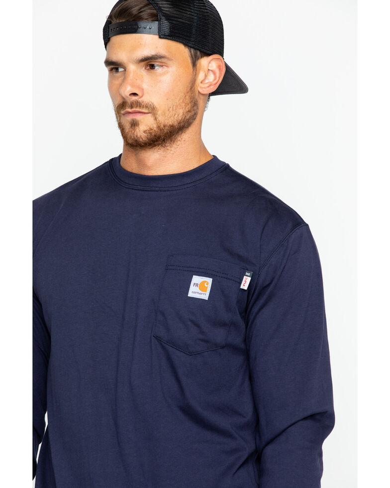 Carhartt Men's Long Sleeve Flame Resistant Force T-Shirt, Navy, hi-res