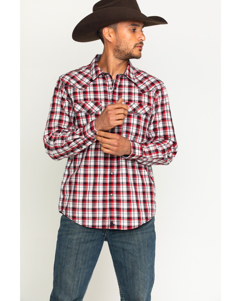 Cody James® Men's Firewater Plaid Long Sleeve Shirt, Black, hi-res
