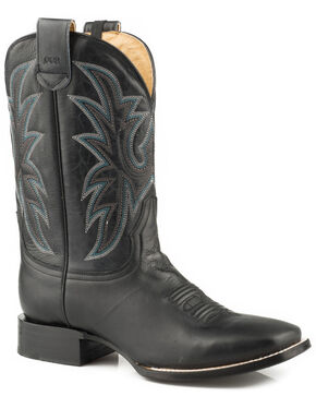 Roper Men's Loaded Sidewinder CCS Burnished Black Leather Cowboy Boots - Square Toe, Black, hi-res