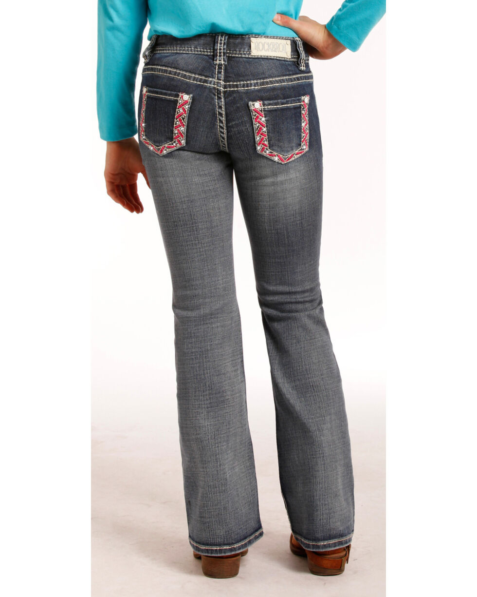 Rock & Roll Cowgirl Girls' &7-14) Pink & Ivory Stitch Jeans - Boot Cut , Indigo, hi-res